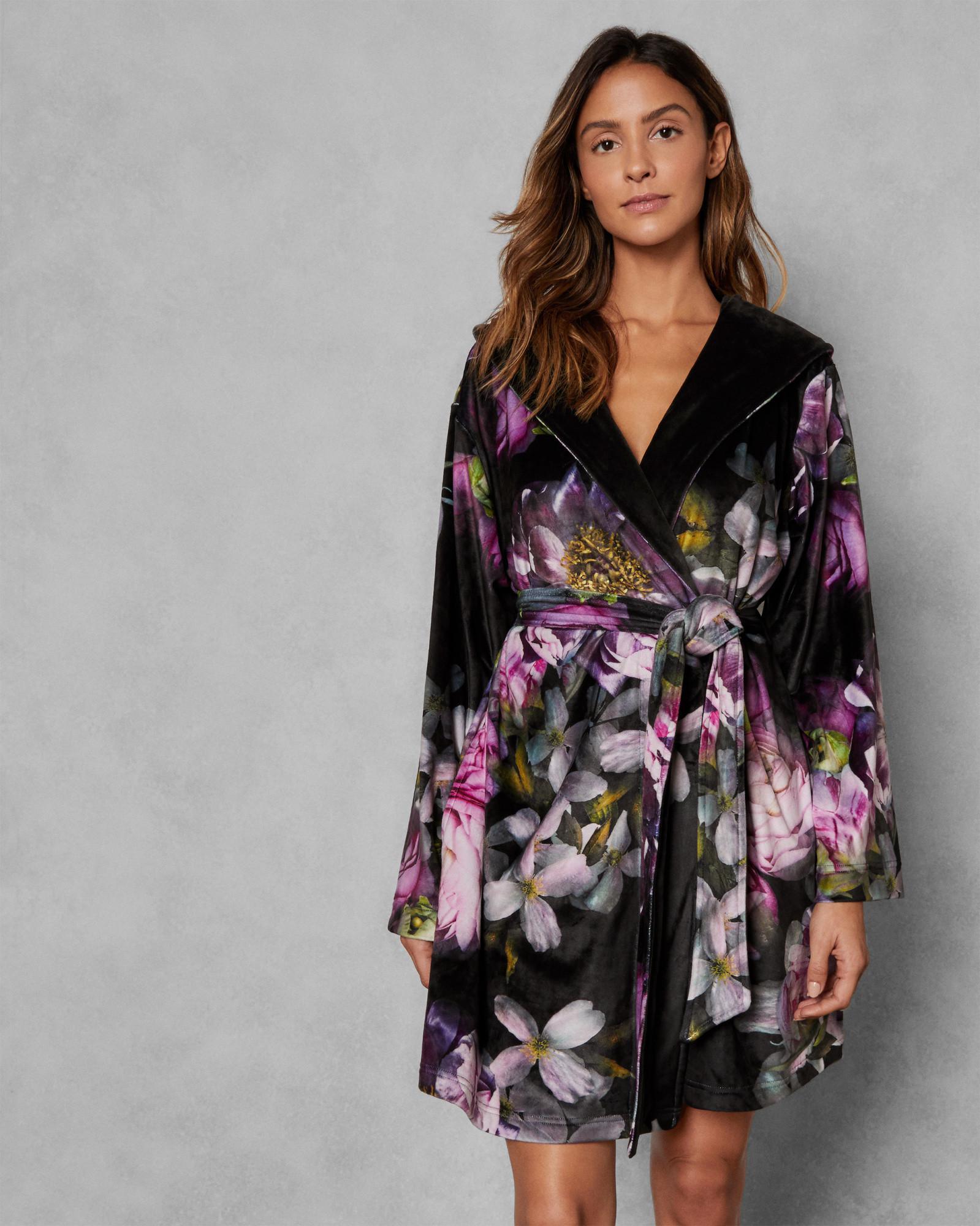 df8825c31780b Ted Baker Sunlit Floral Dressing Gown in Black - Lyst