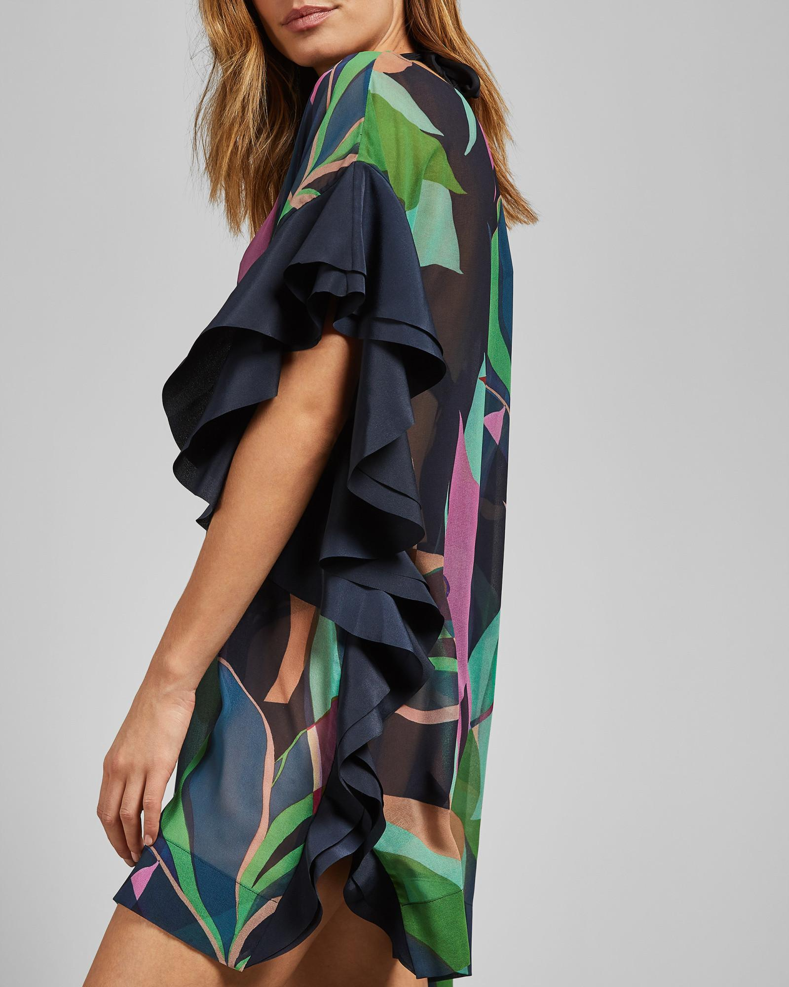 c04f85a7c8 Ted Baker Supernatural Ruffle Cover Up in Blue - Lyst