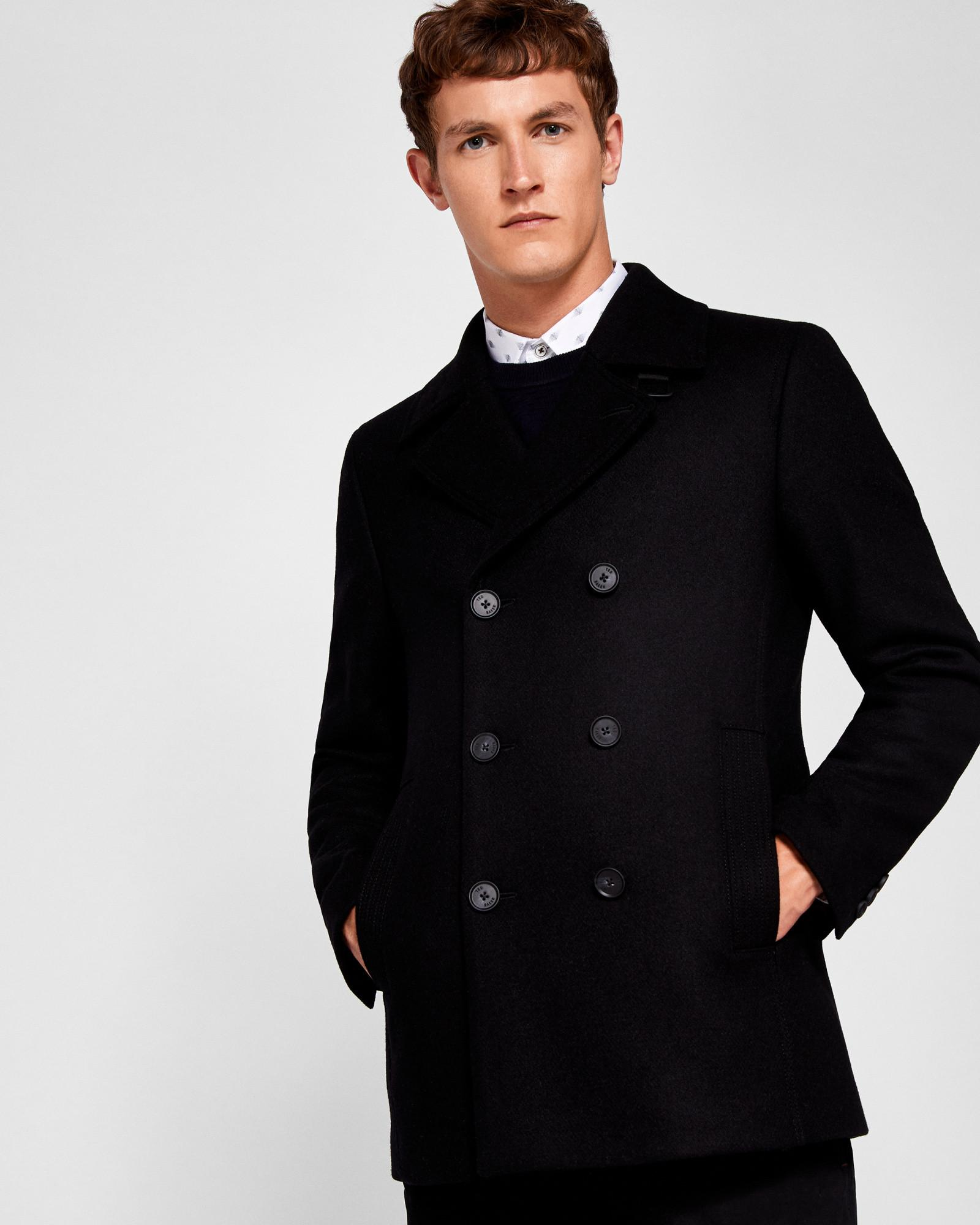 bd3aaf4a8ad2a Ted Baker Wool Peacoat in Black for Men - Lyst