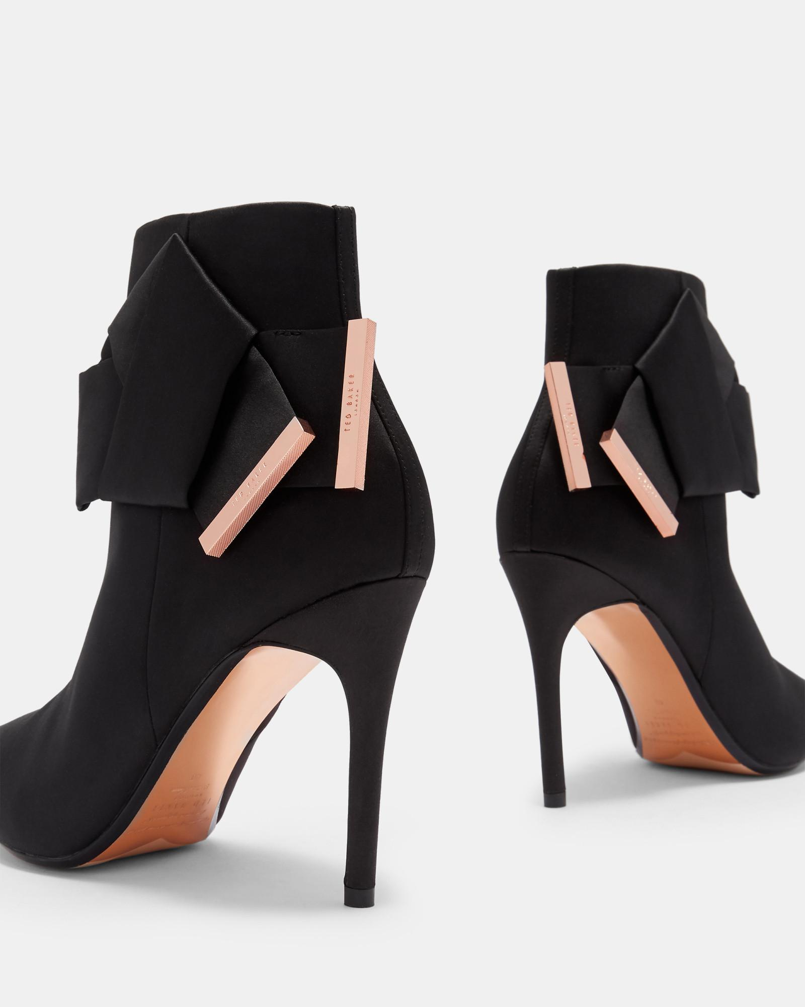 75dd1c95477 Ted Baker Black Knotted Bow Satin Ankle Boots