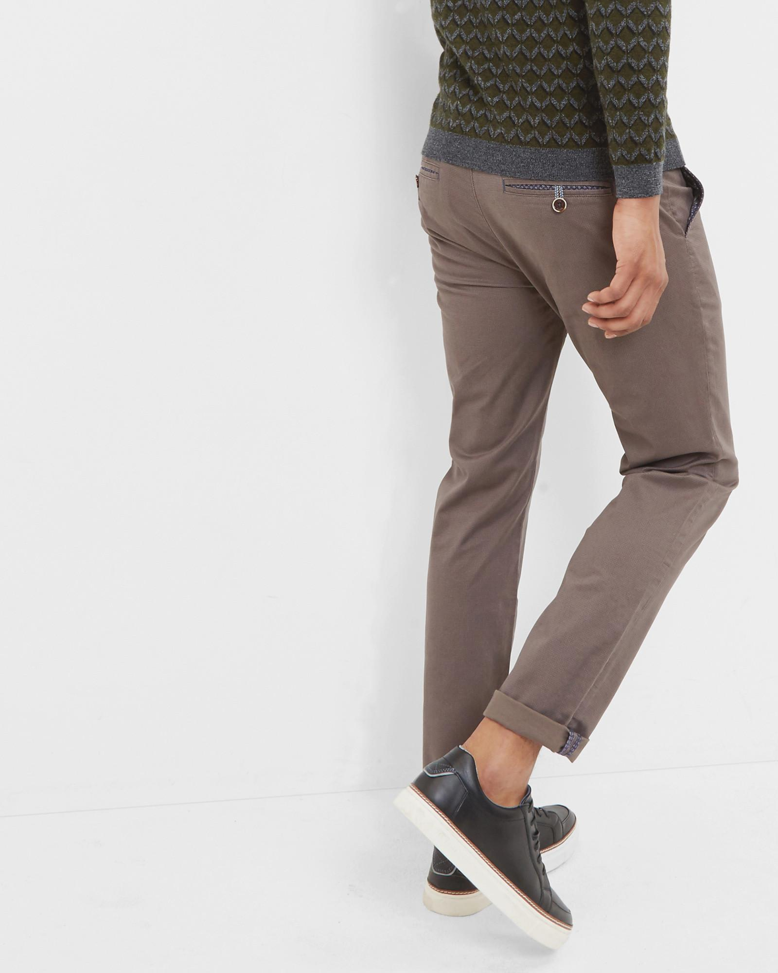 Ted Baker Cotton Micro Print Trousers in Grey (Grey) for Men