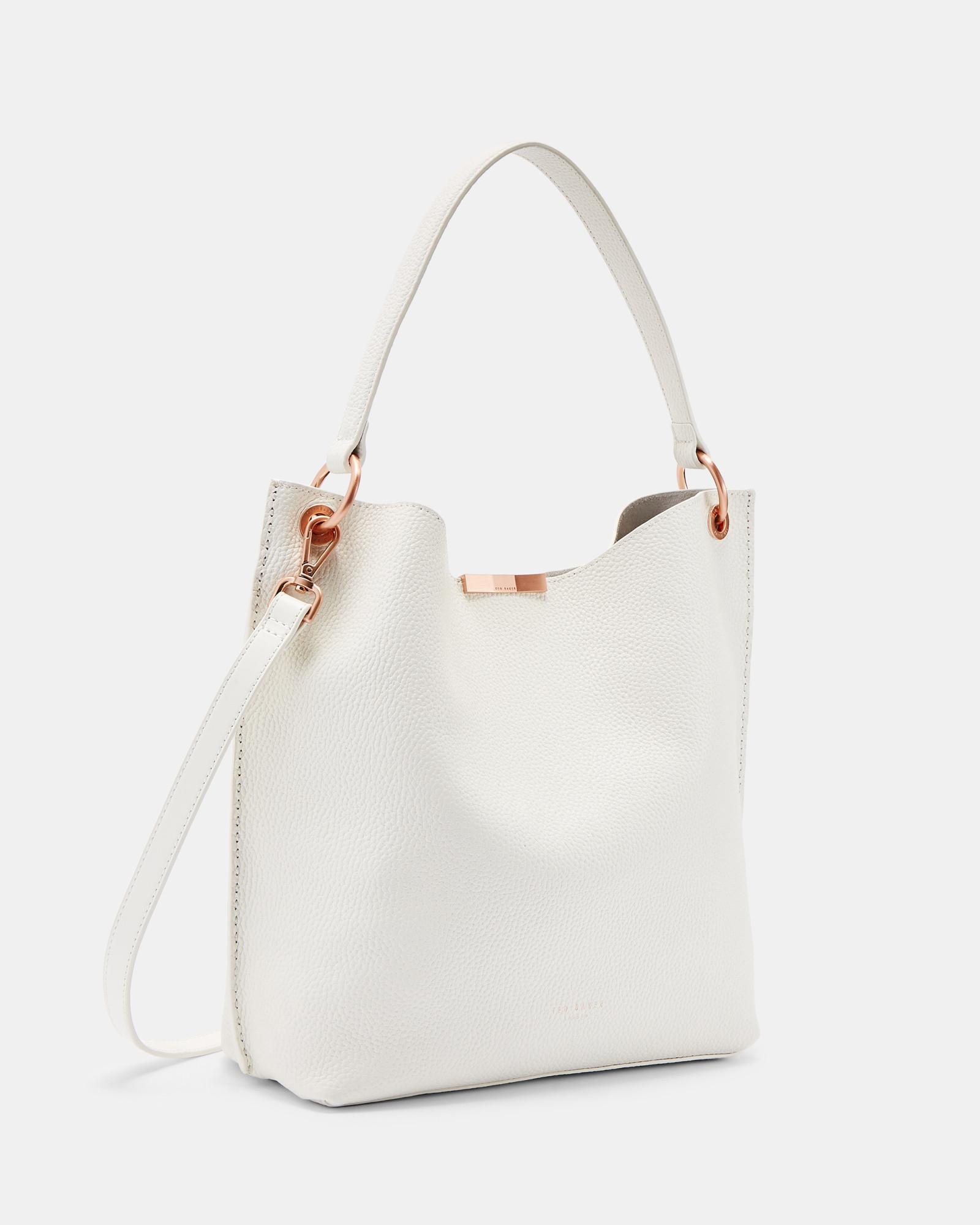 ba45d742888de Ted Baker Soft Grain Hobo Leather Bag in White - Lyst