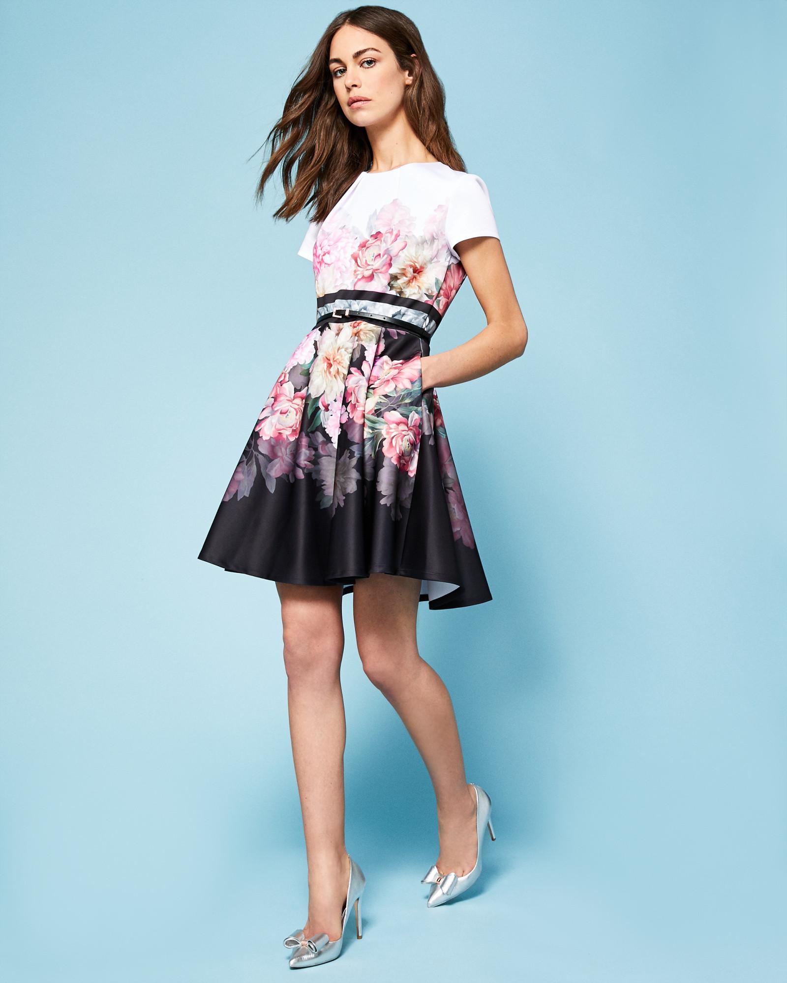 9897f0155d8524 Lyst - Ted Baker Painted Poise Skater Dress