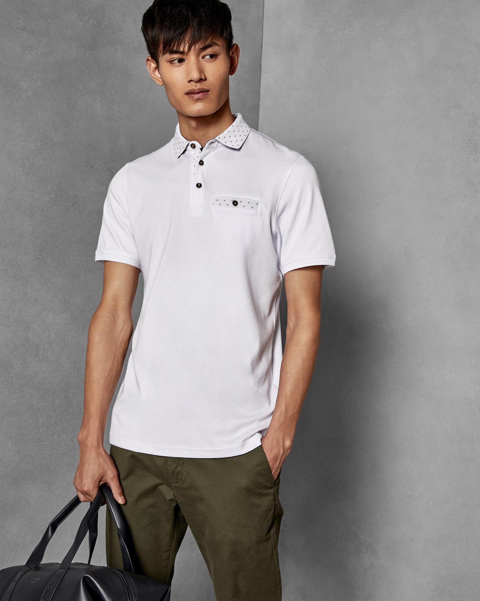 b904442c365b Lyst - Ted Baker Short Sleeved Cotton Polo Shirt in White for Men