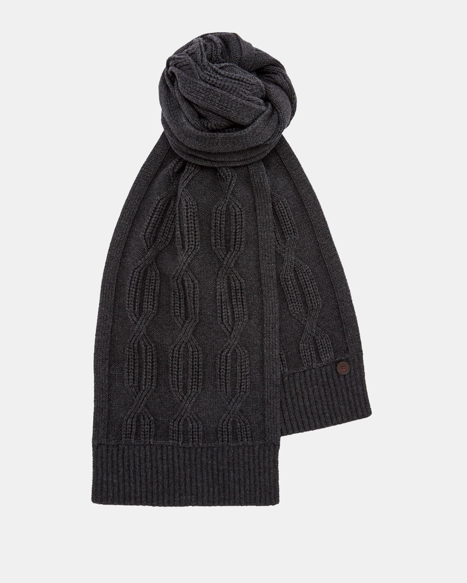 8e78eeebc430 Ted Baker Cable Knit Scarf in Gray for Men - Lyst