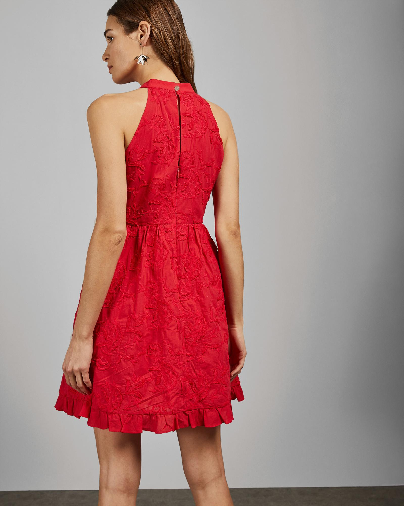 c5a8110a ... Halter Neck Skater Embroidery Dress - Lyst. View fullscreen