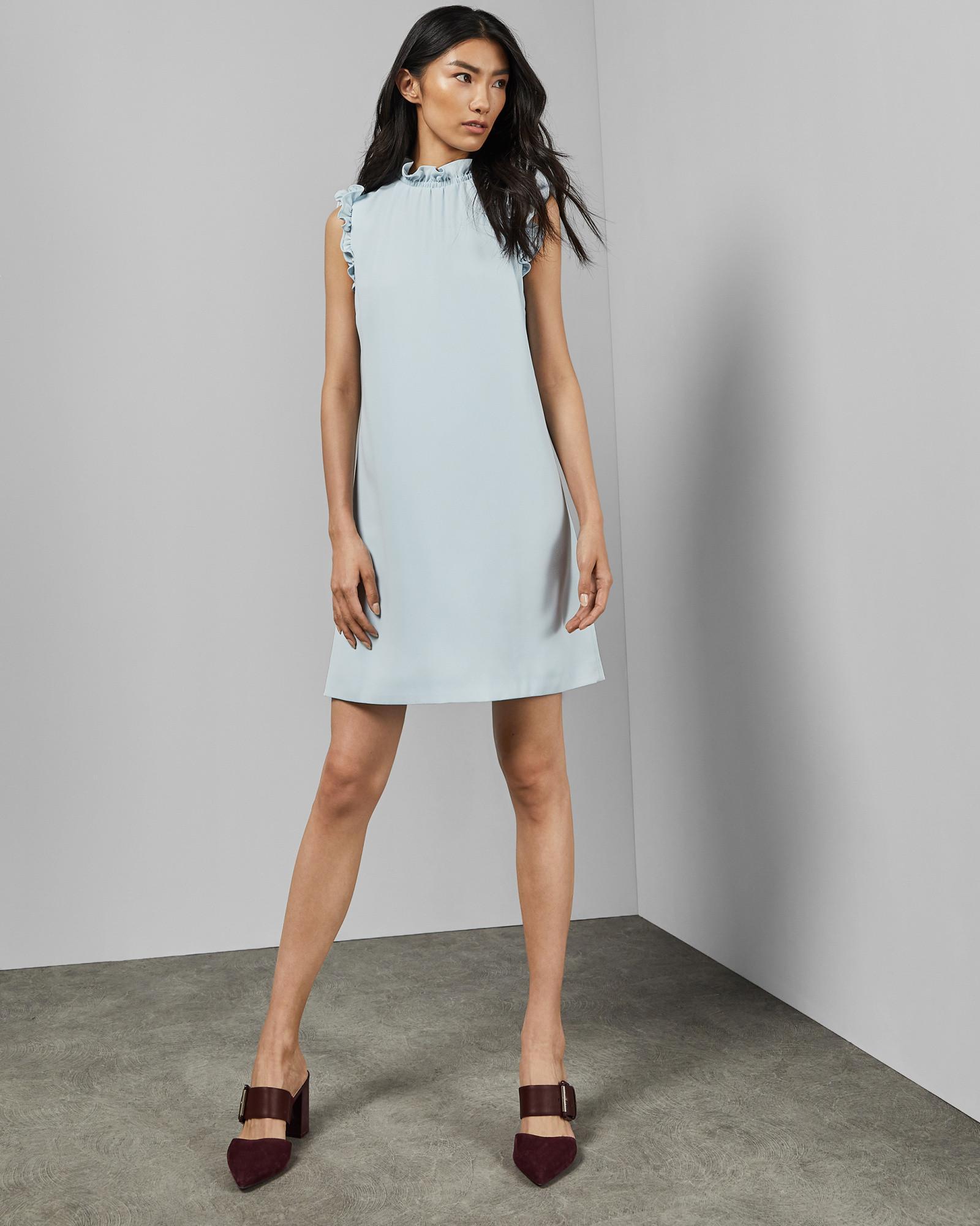30b6e6cd6660 Ted Baker - Blue Lalyand Ruffled Dress - Lyst. View fullscreen