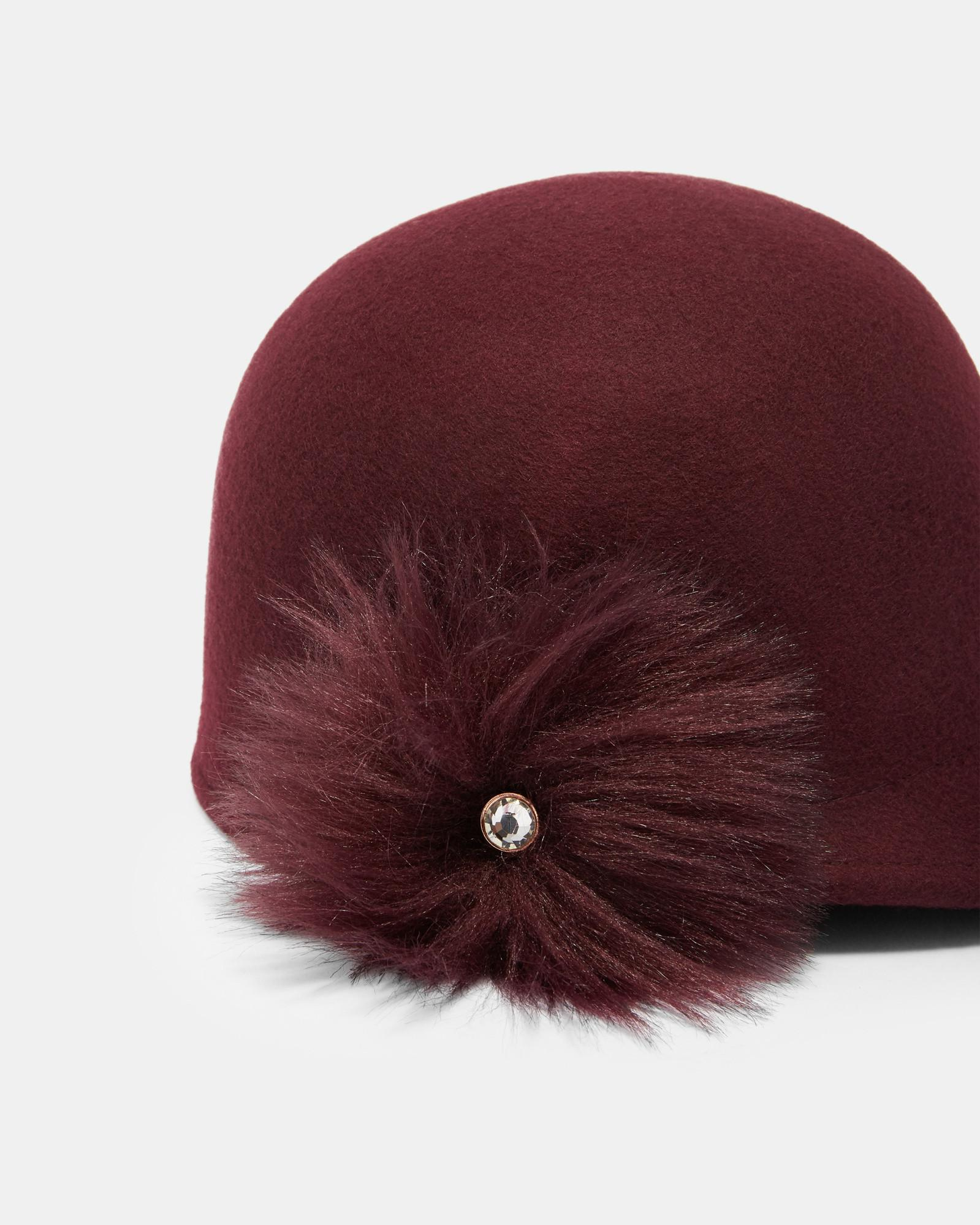 Lyst - Ted Baker Faux Fur Pom Pom Felt Hat in Red bef0a0afa6e6