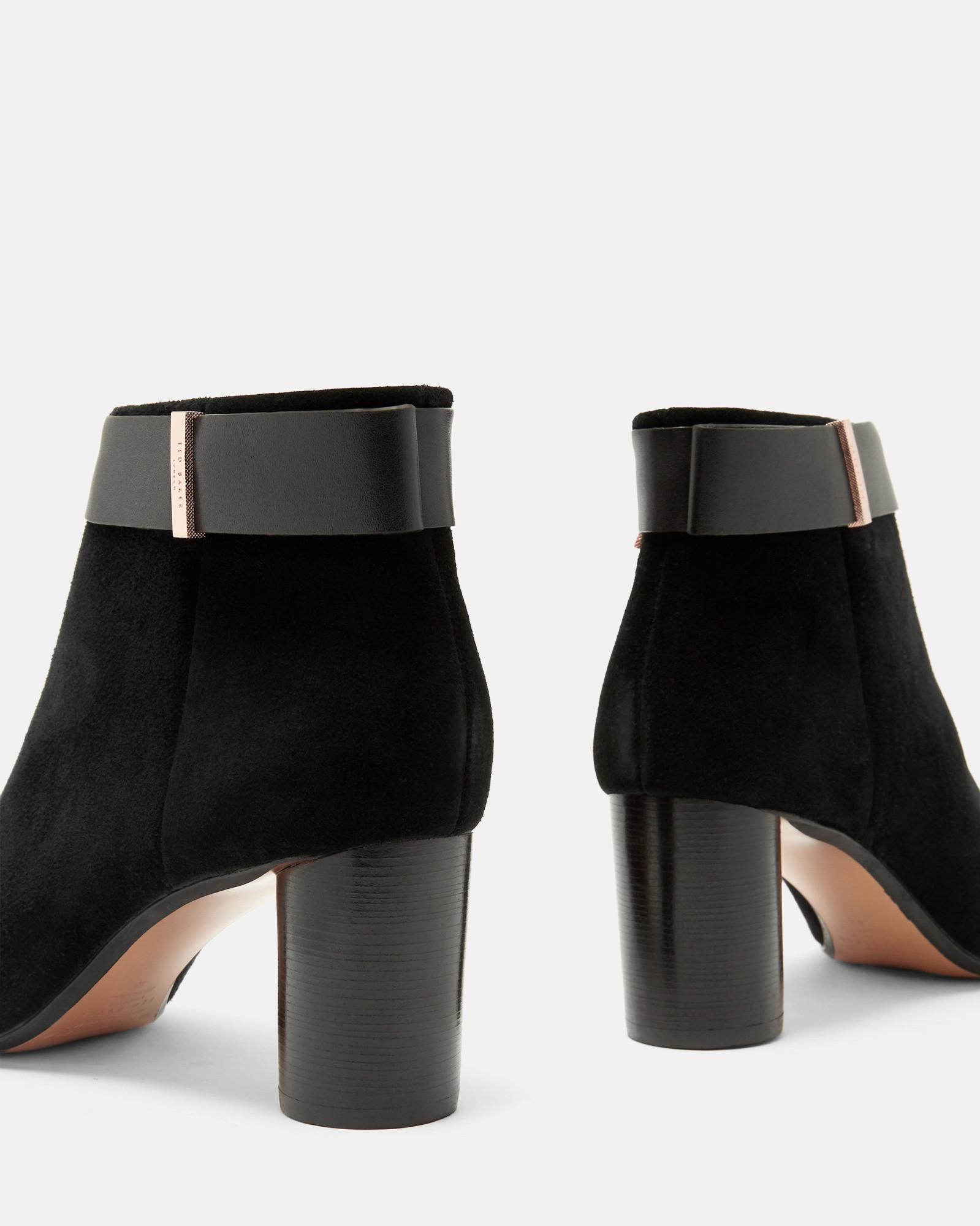 Ted Baker Suede Circular Heel Ankle Boots in Black