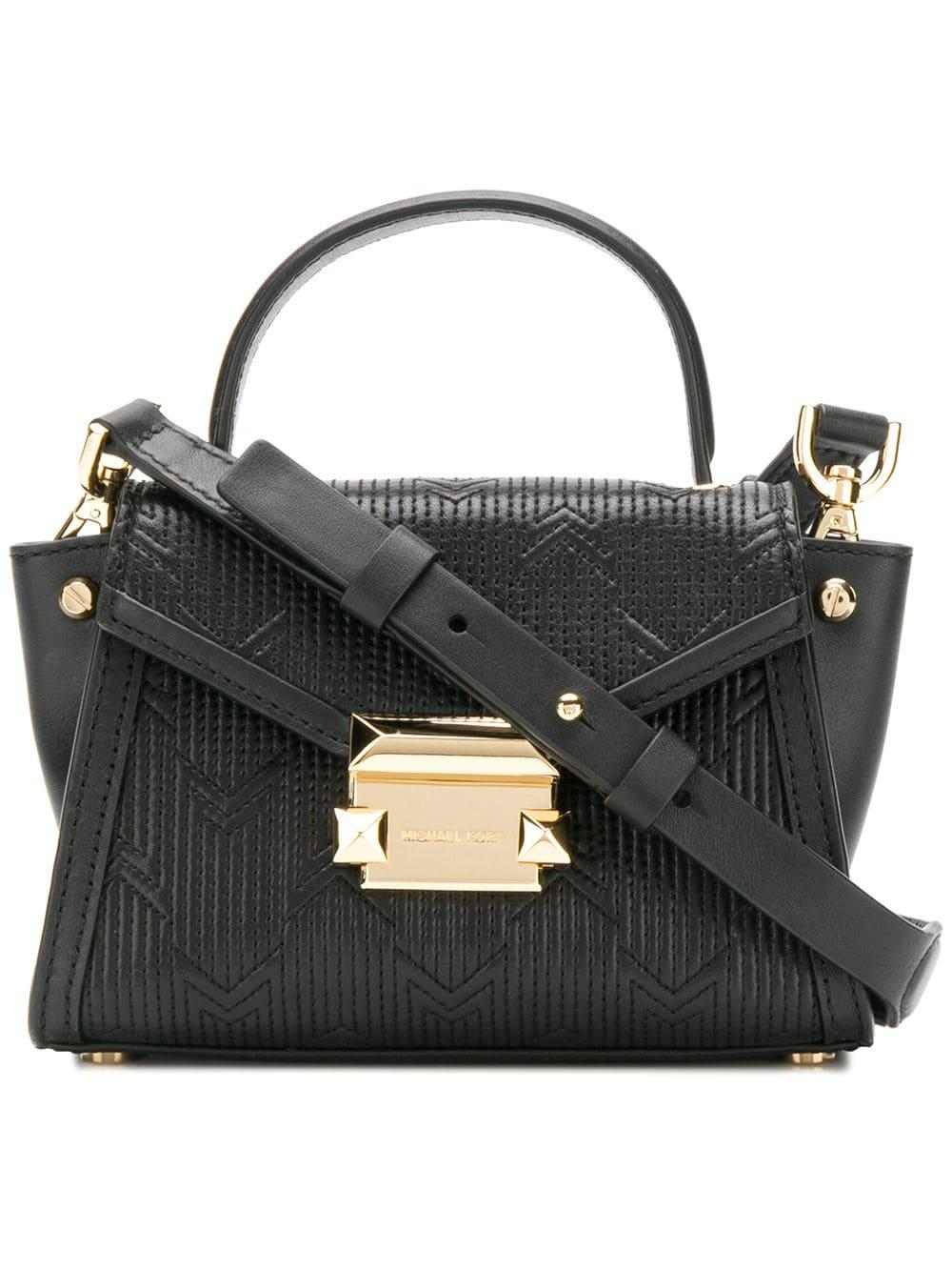 f7c2c0a7641a24 Michael Kors Whitney Mini Deco Quilted Leather Satchel in Black ...