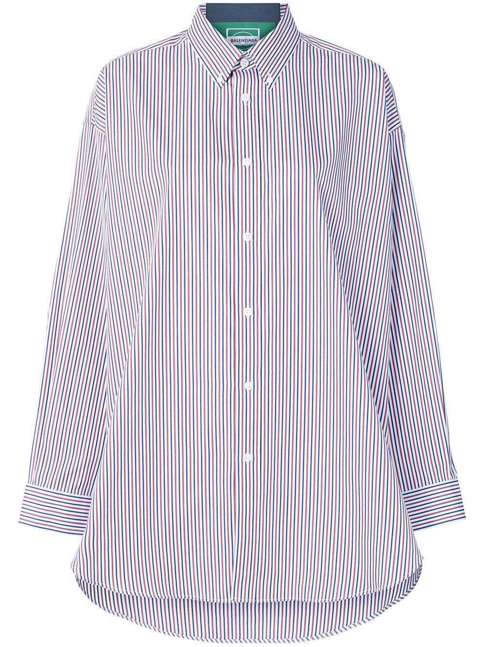 Latest Collections Cheap Best Seller Tag Oversized Appliquéd Striped Cotton-poplin Shirt - Blue Balenciaga Choice Cheap Price Visit For Sale AaUGz5xcr