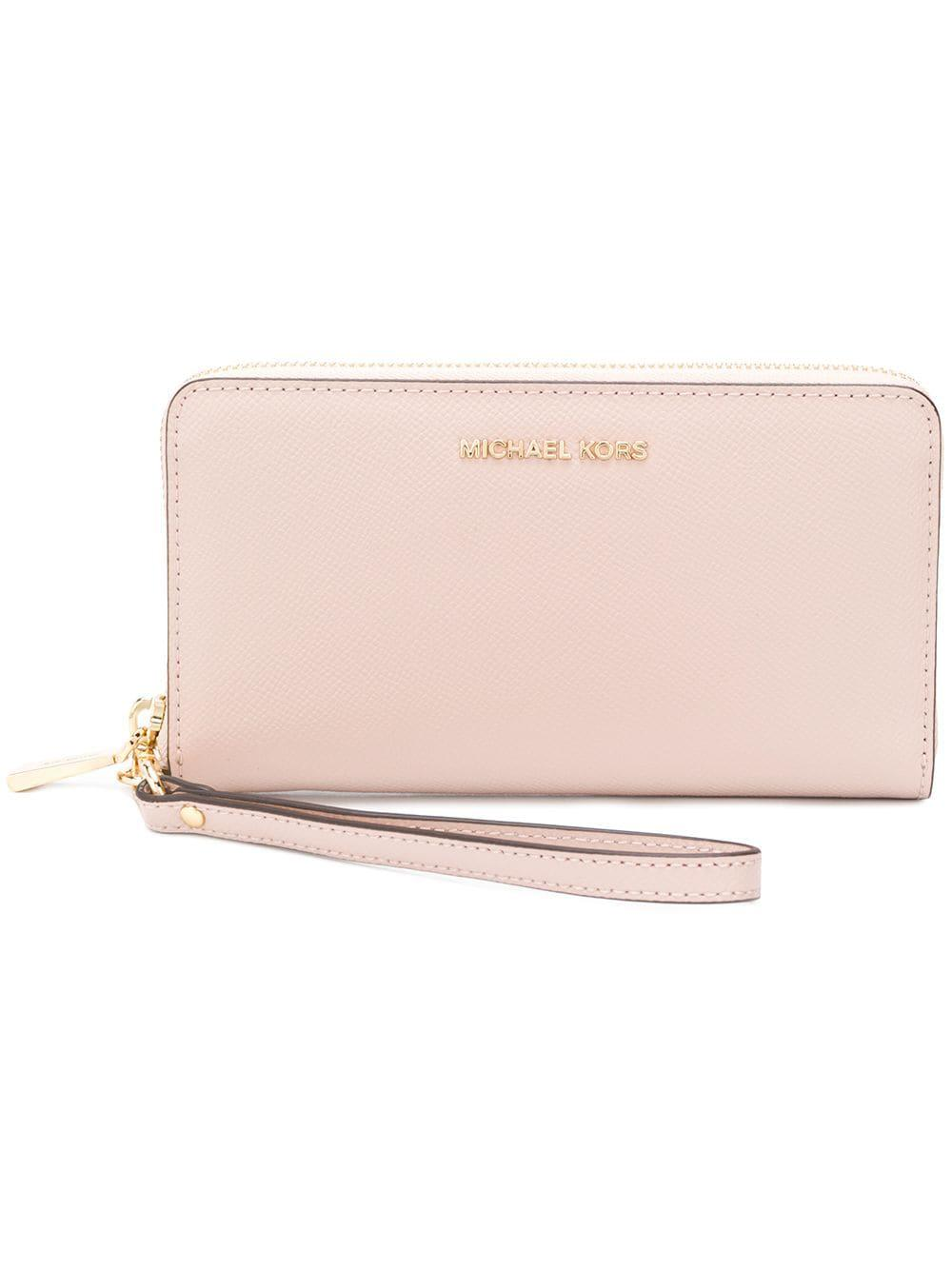 d76cf45b8e8d Lyst - Michael Michael Kors Leather Wristlet Pouch in Pink