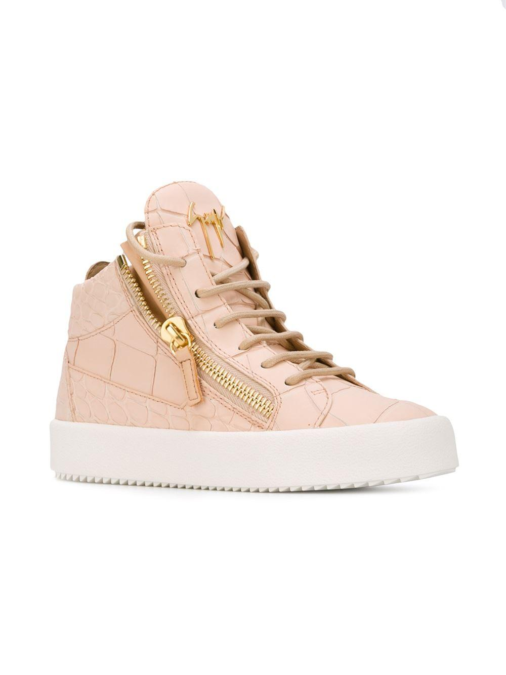 Giuseppe Zanotti Leather Zip Detail Hi-top Sneaker in Natural