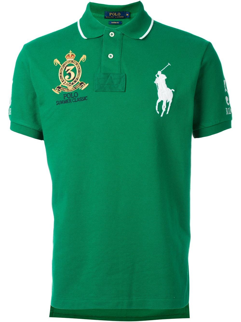 Lyst polo ralph lauren embroidered logo polo shirt in for Polo shirt with fish logo