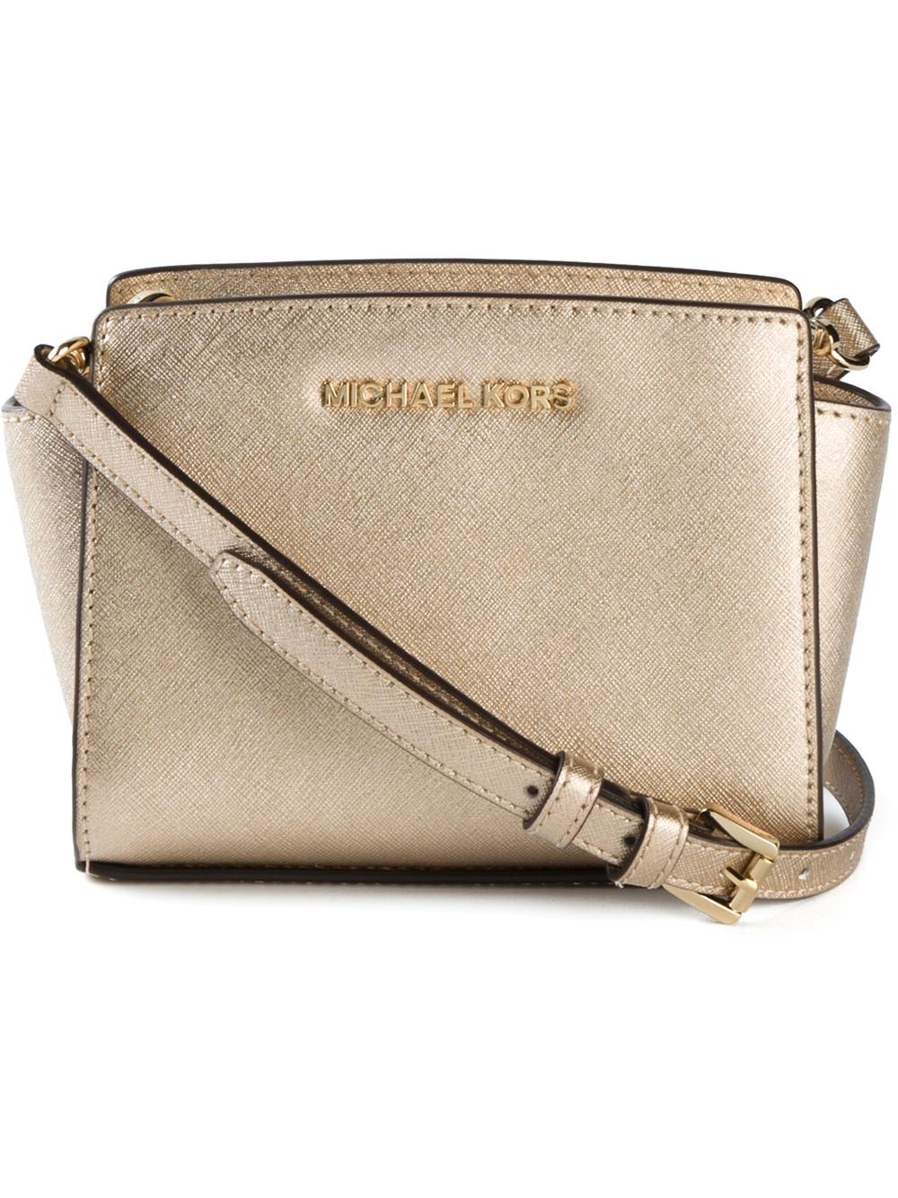 2a77b8c84aae Lyst - MICHAEL Michael Kors Selma Mini Messenger Bag in Natural