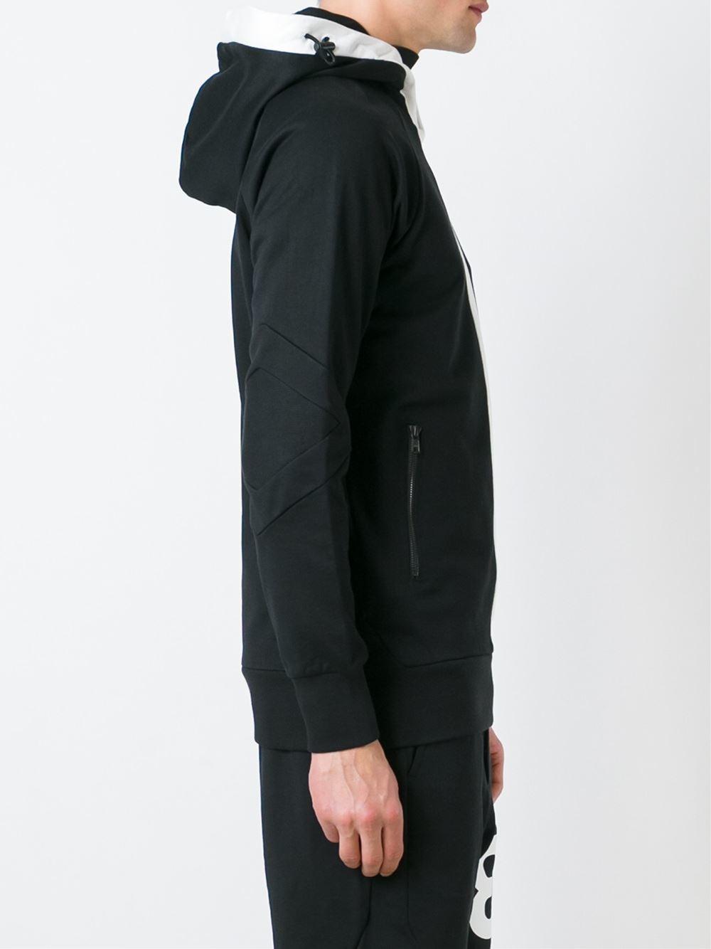 Y-3 Cotton Sleeve Logo Hoodie in Black for Men