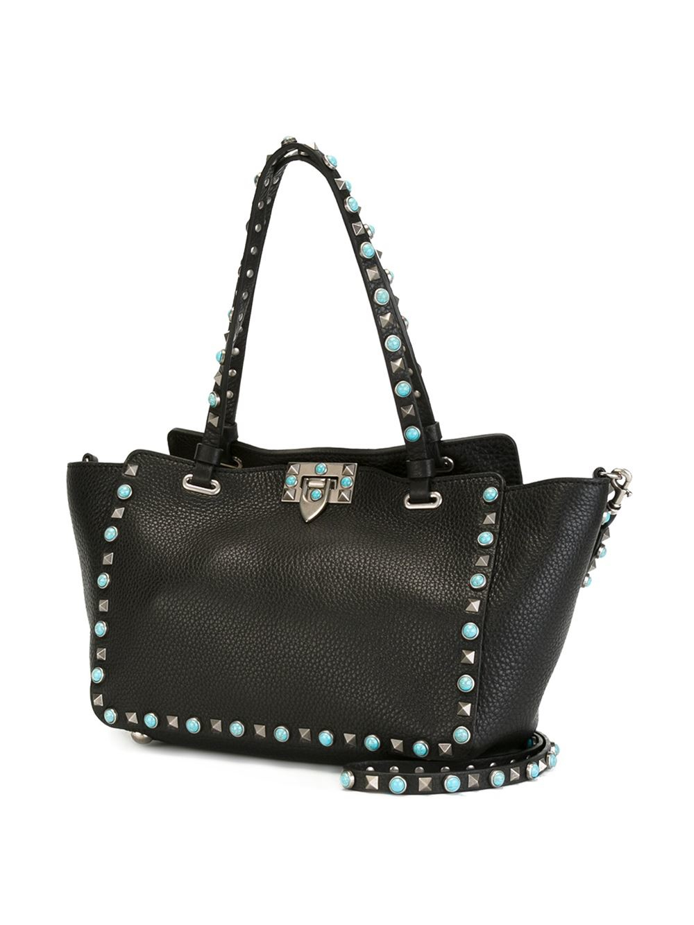 lyst valentino rockstud rolling leather shoulder bag in black. Black Bedroom Furniture Sets. Home Design Ideas