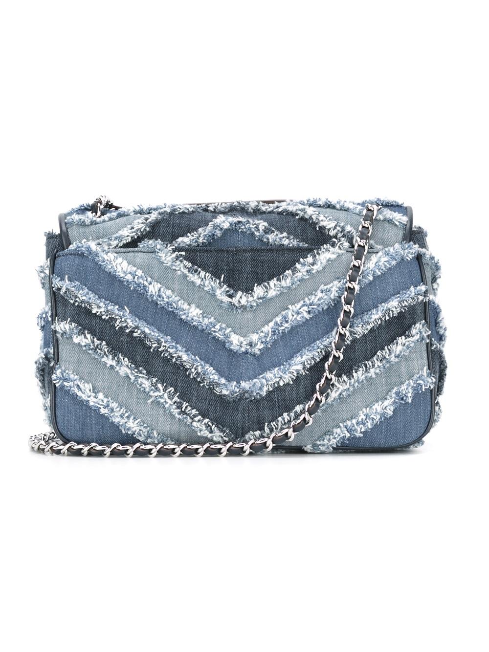 michael michael kors small sloan jeweled shoulder flap bag in blue