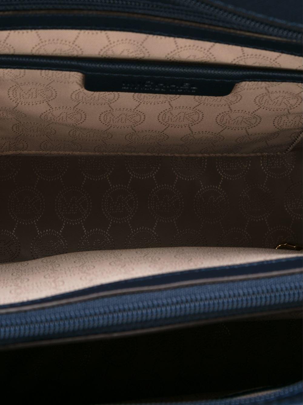 MICHAEL Michael Kors Leather Jet Set Travel Medium Tote Bag in Blue (Black)