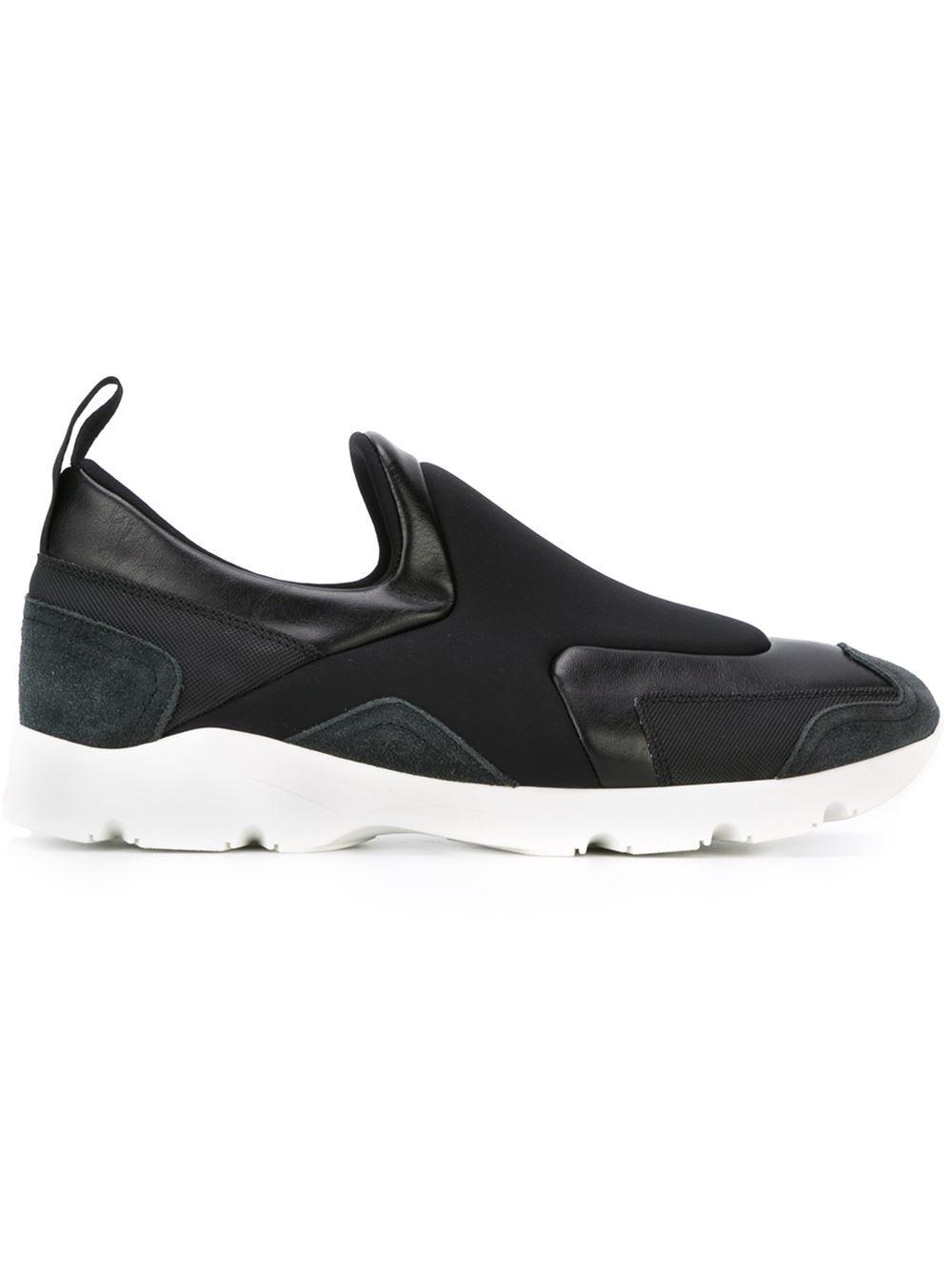 mm6 by maison martin margiela ridged sole paneled slip on sneakers in black for men lyst. Black Bedroom Furniture Sets. Home Design Ideas