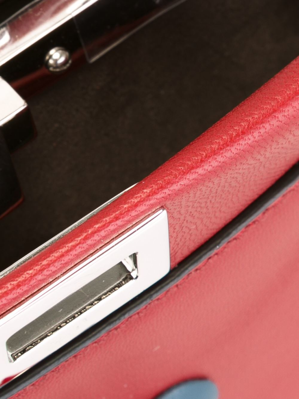 Fendi Leather Micro 'double Baguette' Crossbody Bag in Red