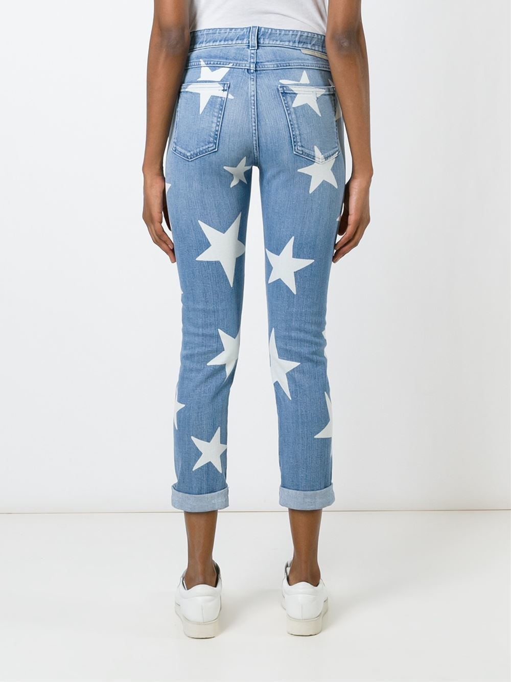 Stella McCartney Denim Skinny Boyfriend Jeans With Stars in Blue