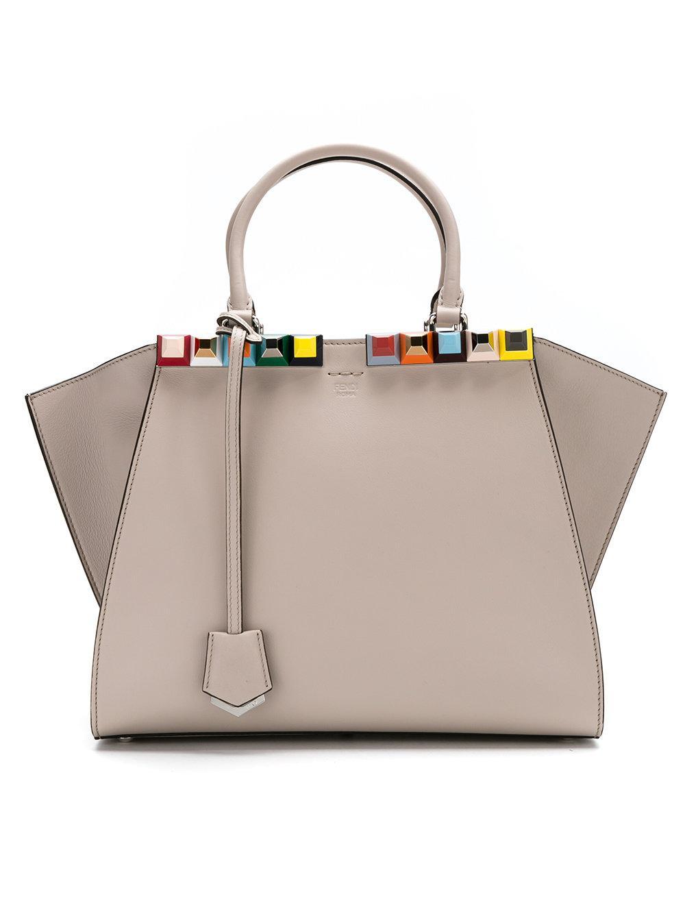 592ac907e9 Lyst - Fendi 3jours Handbag With Multicolor Studs in Gray