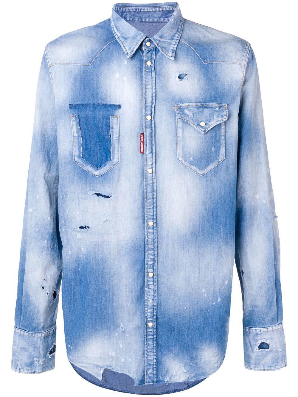 37a2c7ec02 Lyst - Dsquared² Denim Shirt in Blue for Men