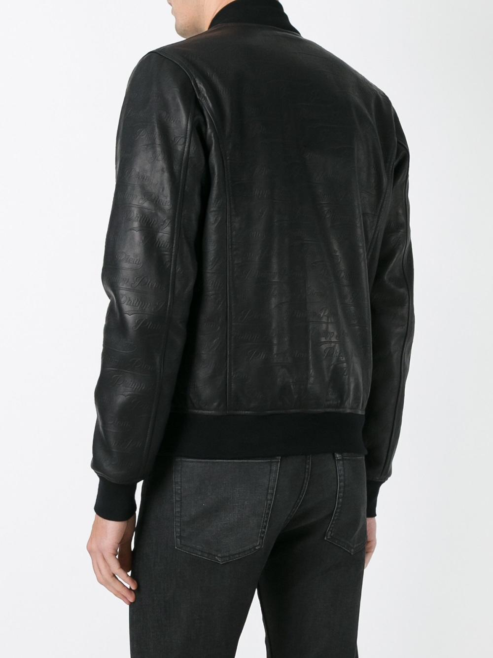 Philipp Plein Synthetic Bomber Different in Black for Men