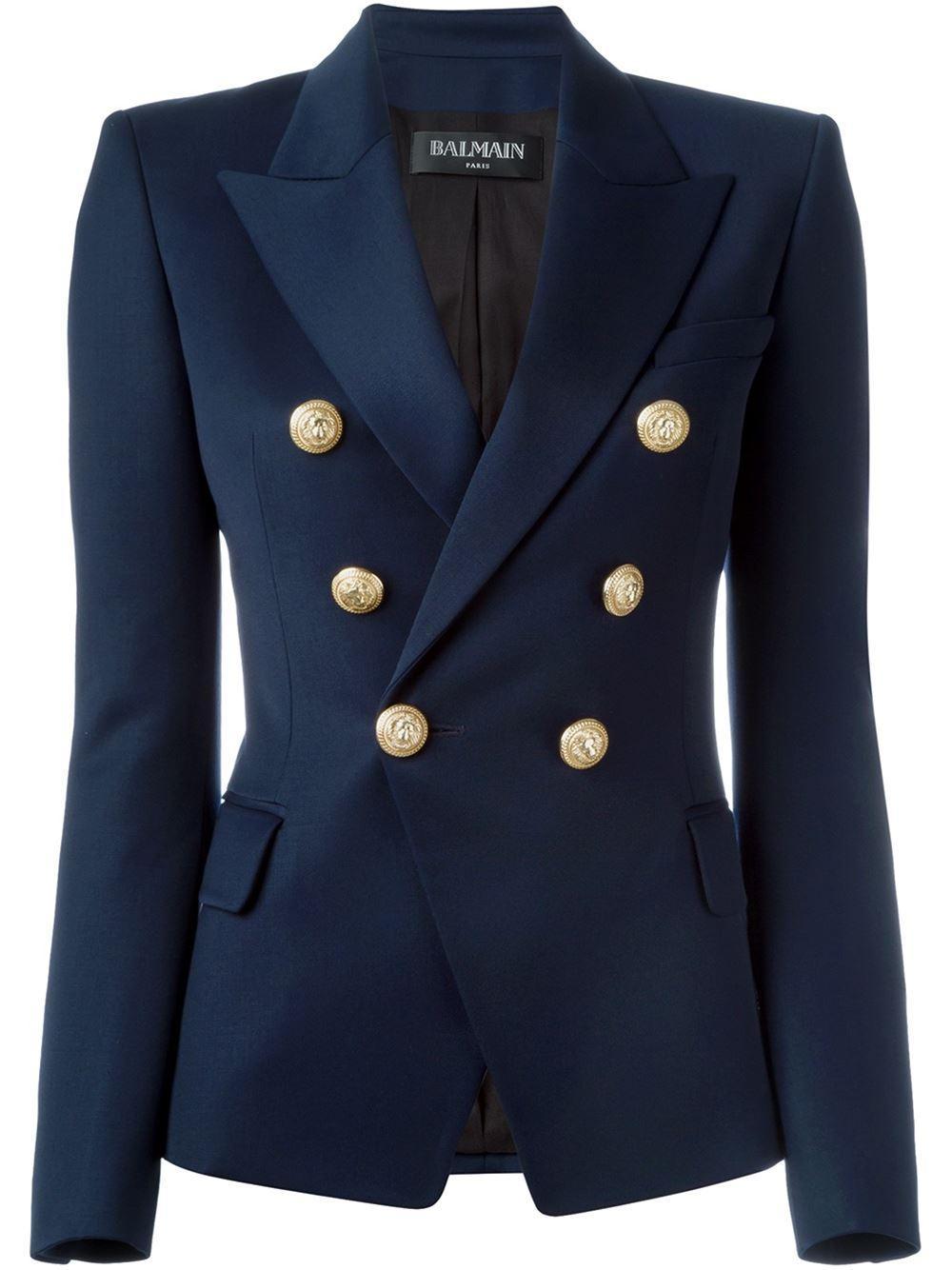 Lyst Balmain Double Breasted Blazer In Blue