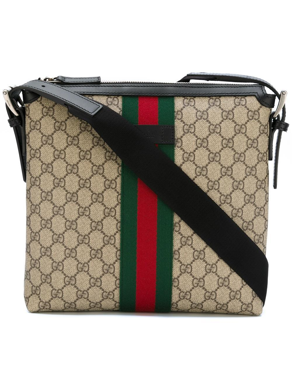 7438cb28b9014f Gucci Gg Supreme Messenger Bag With Web Detail in Black for Men - Lyst