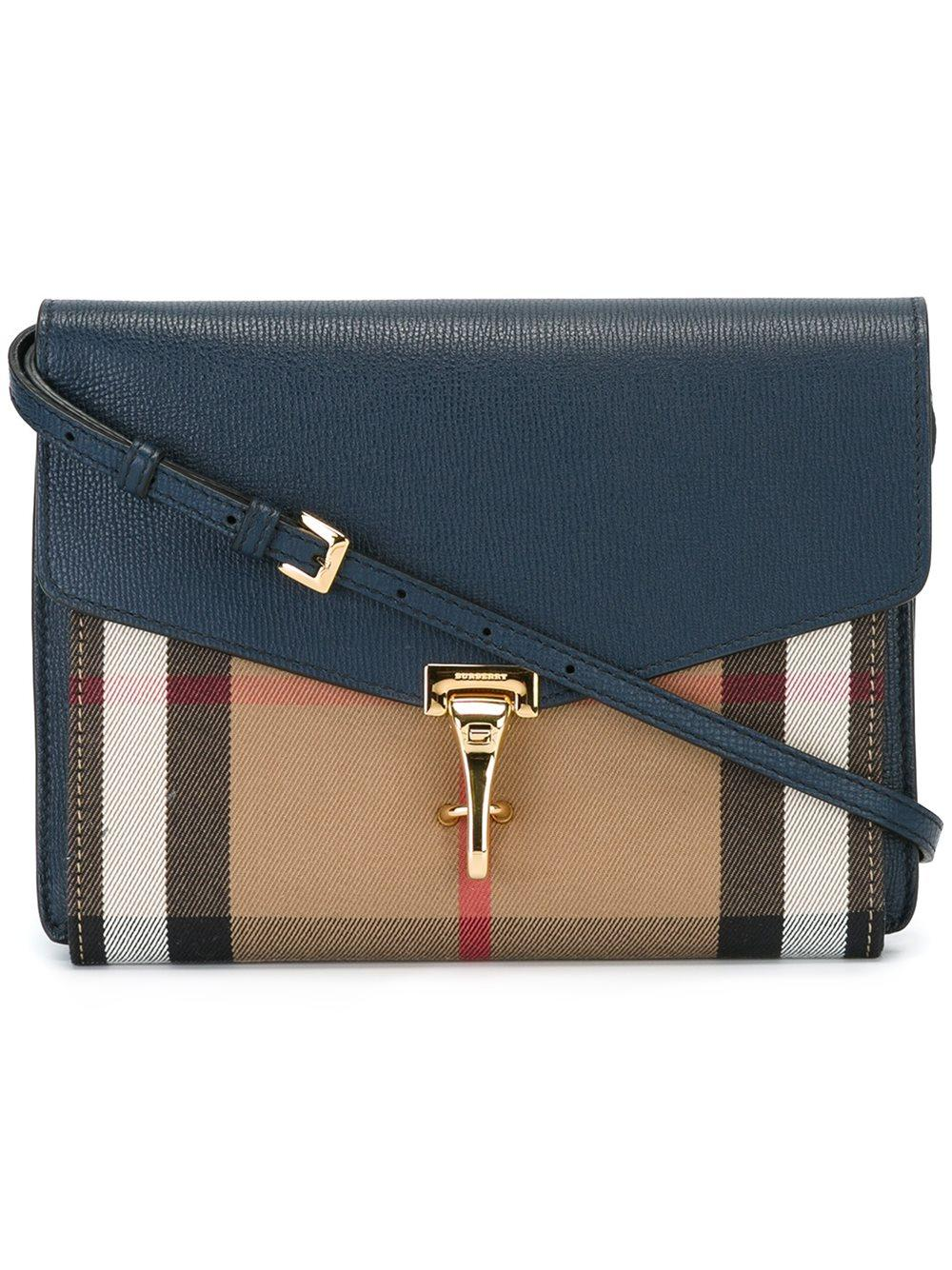 Burberry Leather Small Macken Crossbody in Blue