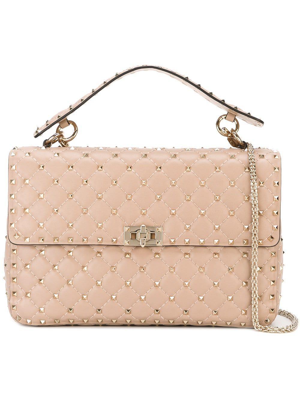 96fd8a54428f Lyst - Valentino Rockstud Spike Large Leather Shoulder Bag in Pink