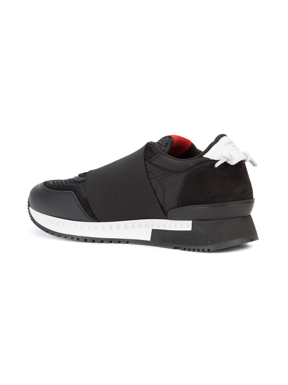 Givenchy Leather Runner Elastic Sneakers in Black