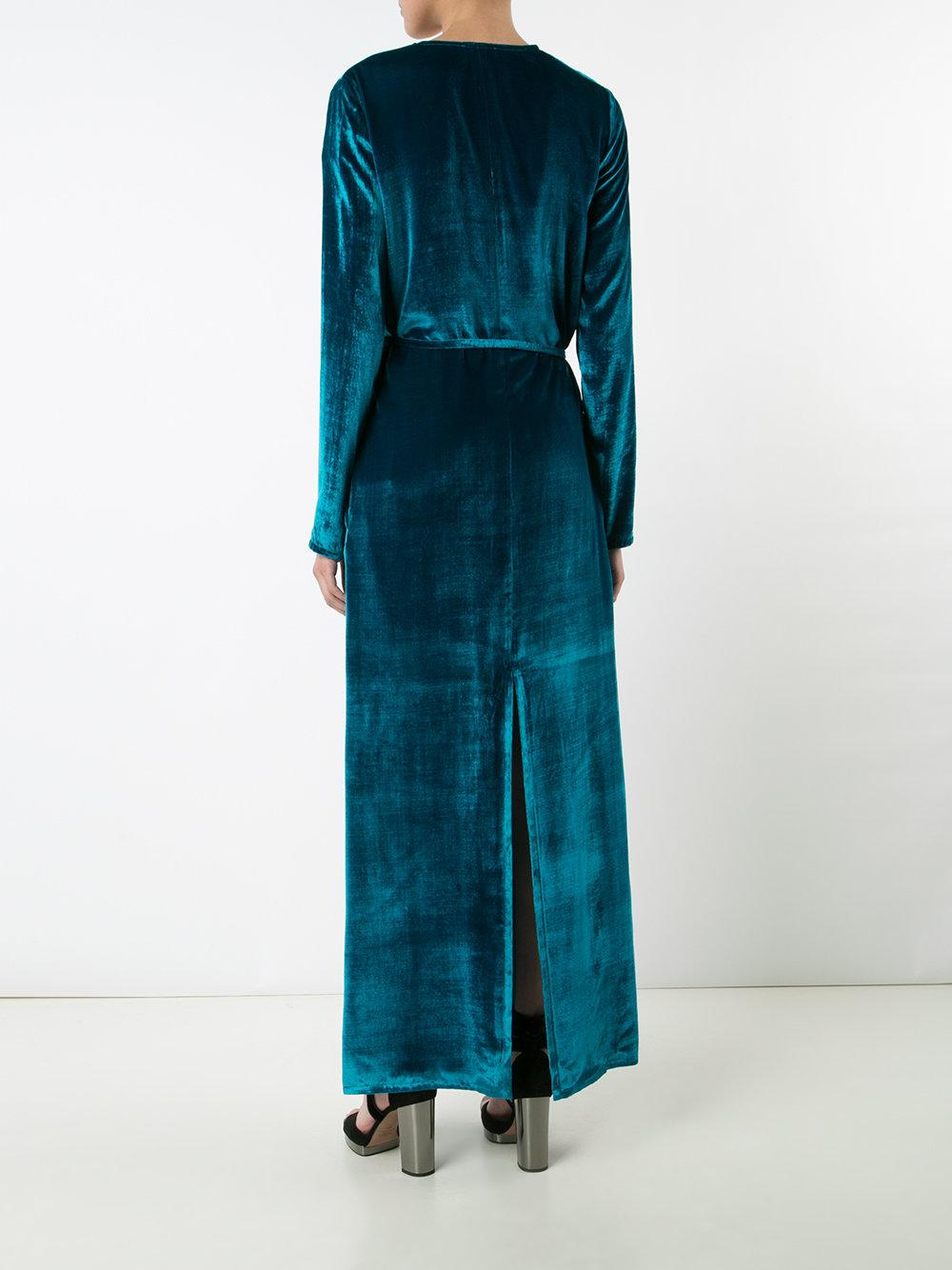 Attico Turquoise Velvet Robe Dress In Blue Lyst