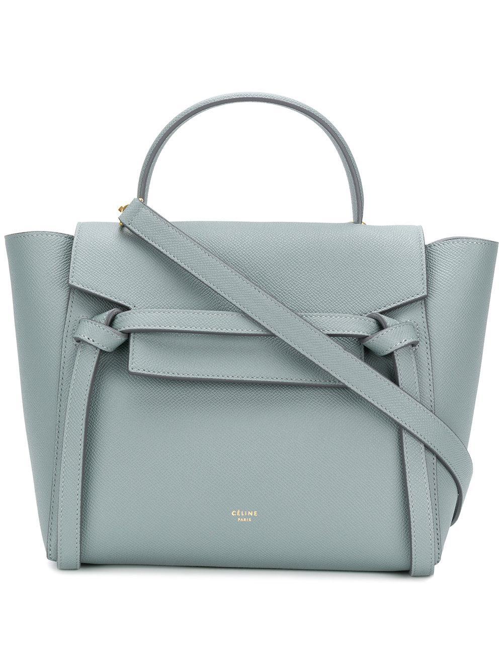 Celine Micro Leather Belt Bag In Grey Gray Lyst