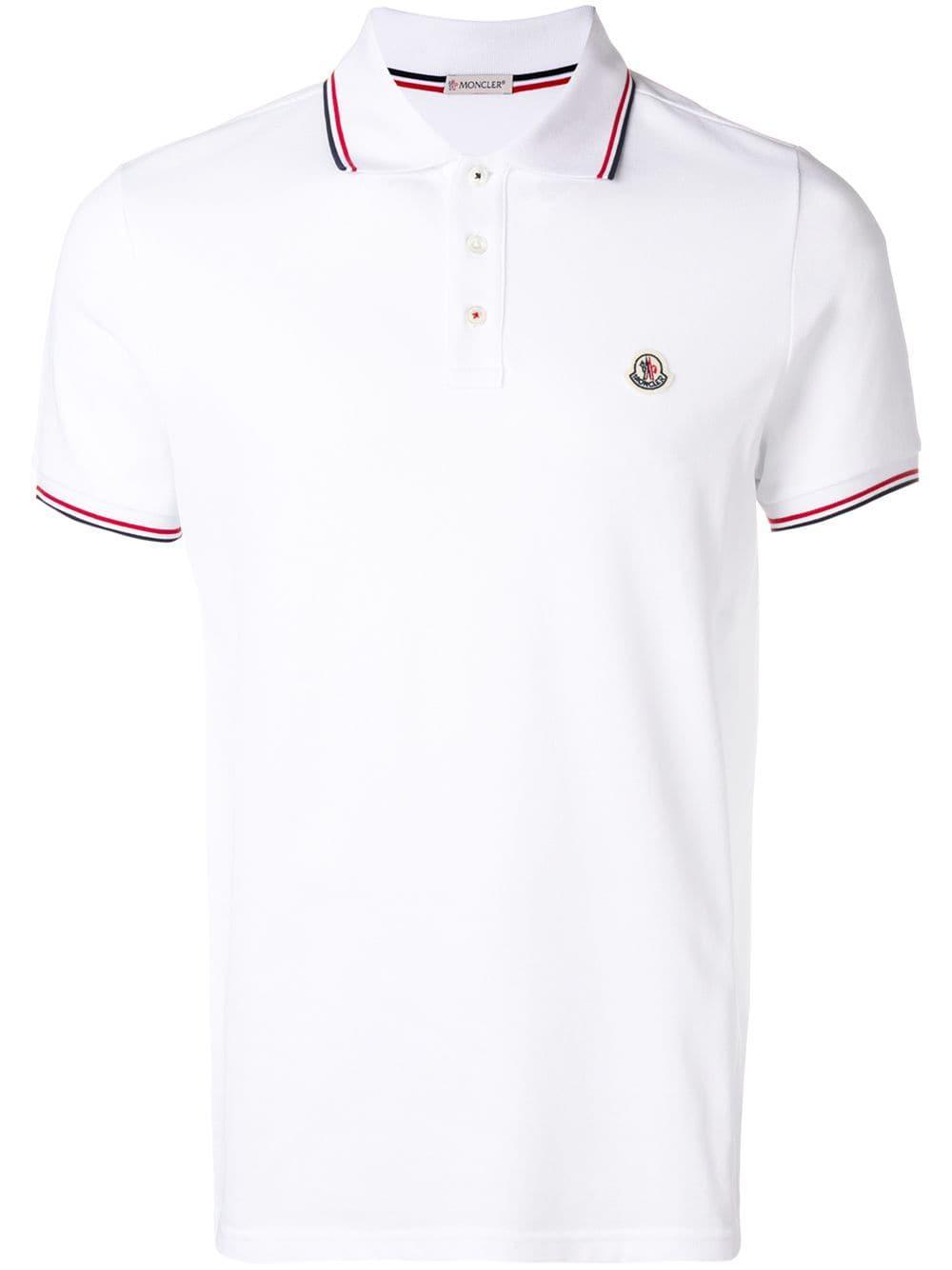 92663508 Moncler - White Logo Cotton Polo for Men - Lyst. View fullscreen