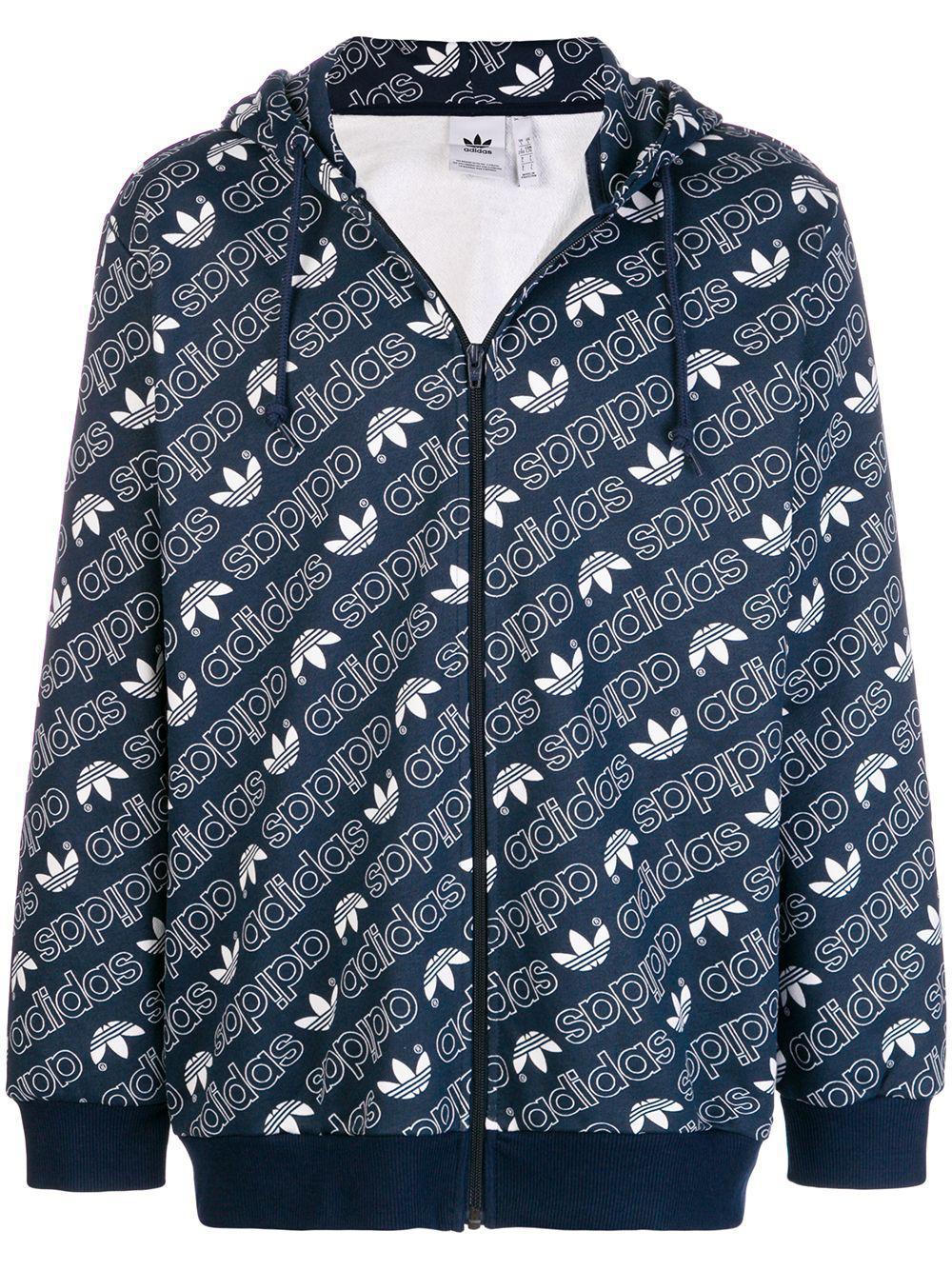 adidas Synthetic Men's Zip-front Logo Graphic Hoodie in Navy (Blue) for Men