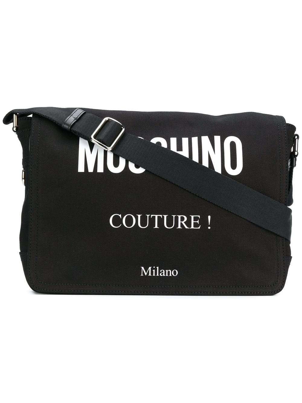 094a1215b247 Lyst - Moschino Logo Printed Crossbody Bag in Black for Men