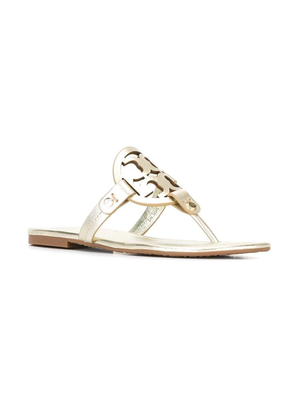 094bf85aca48 Tory Burch - Metallic Miller Leather Sandals - Lyst. View fullscreen