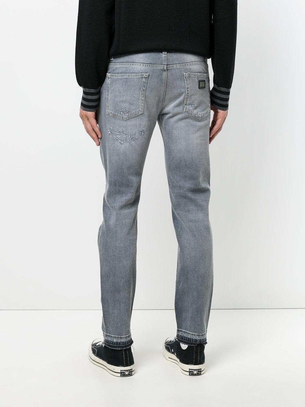 dolce gabbana ripped detail jeans in blue for men lyst. Black Bedroom Furniture Sets. Home Design Ideas