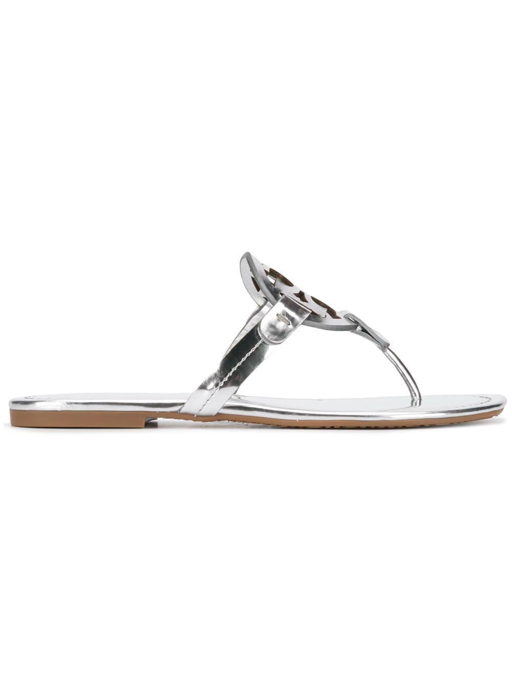 167626ecd0b Lyst - Tory Burch Miller Leather Sandals in Metallic