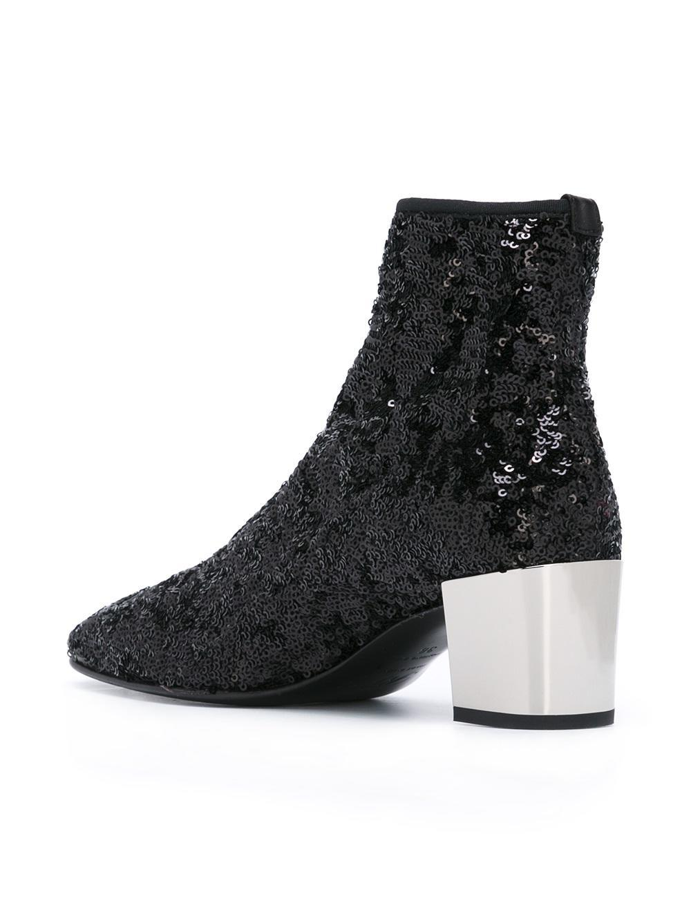 Roger Vivier Leather Polly Ankle Boots With Sequins In