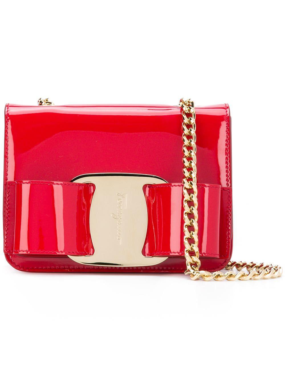 Lyst - Ferragamo Vara Mini Shoulder Bag in Red - Save ... 49ddb6bfef23a