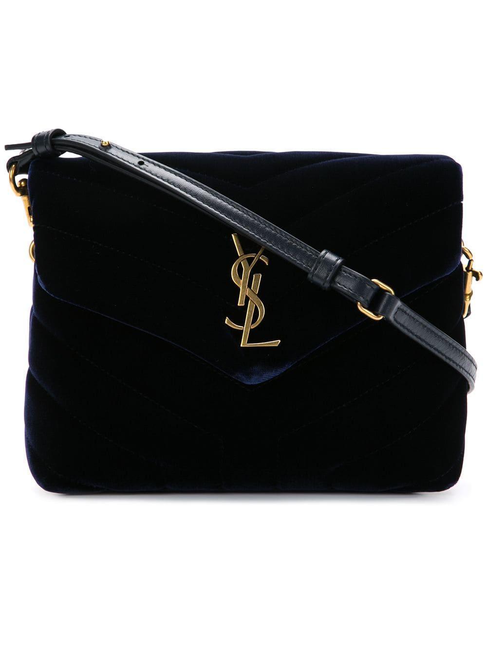 d1c912d3f8 Lyst - Saint Laurent Monogram Leather Shoulder Bag in Blue