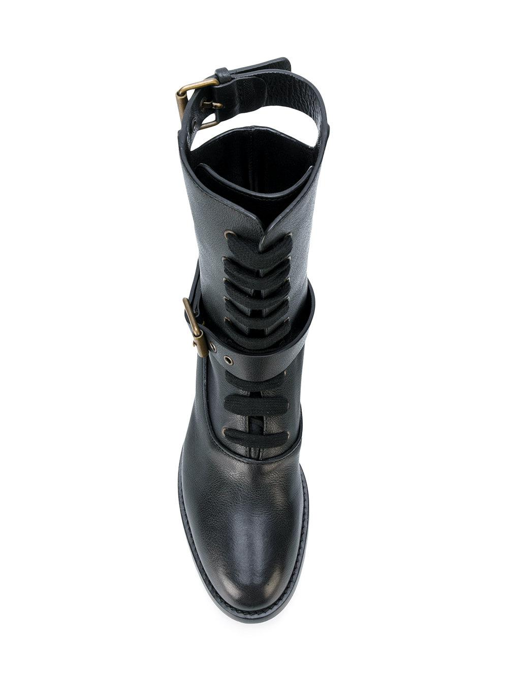 cbef6a05 Chloé Black Otto Boots With Buckles