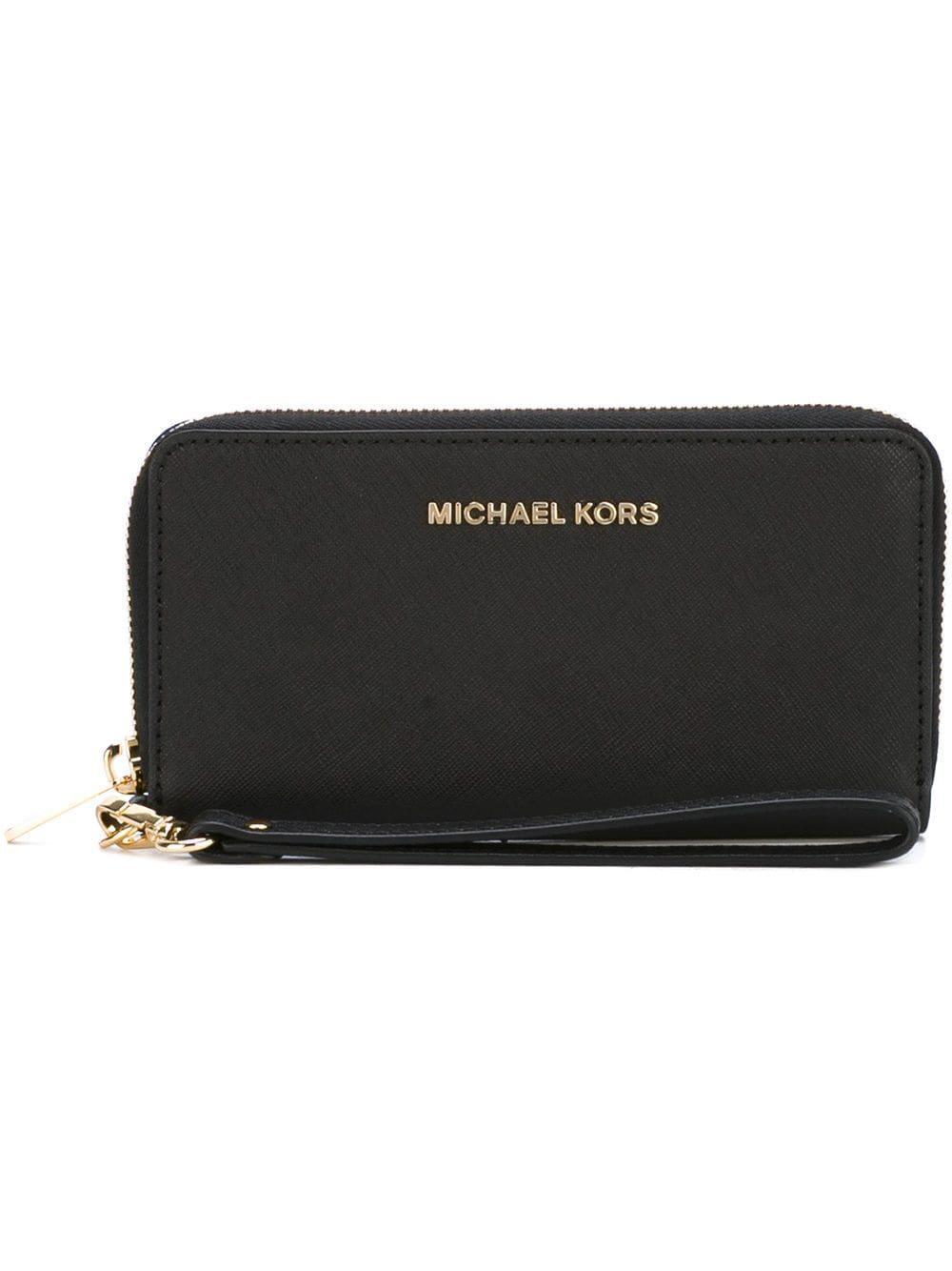 a7cd47892e6c Lyst - Michael Michael Kors Leather Wristlet Pouch in Black