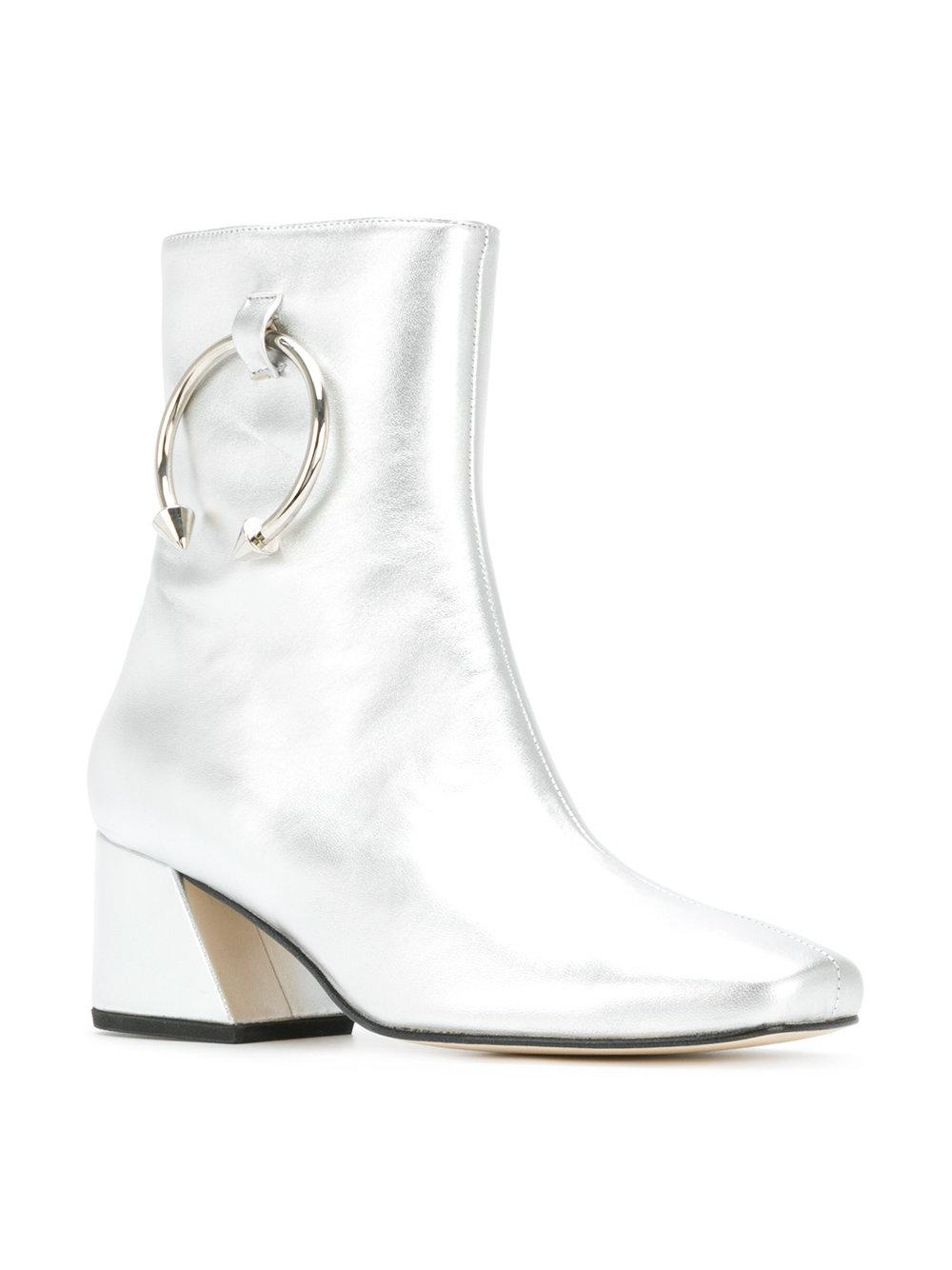 Dorateymur Leather Metallic Pierced Boots