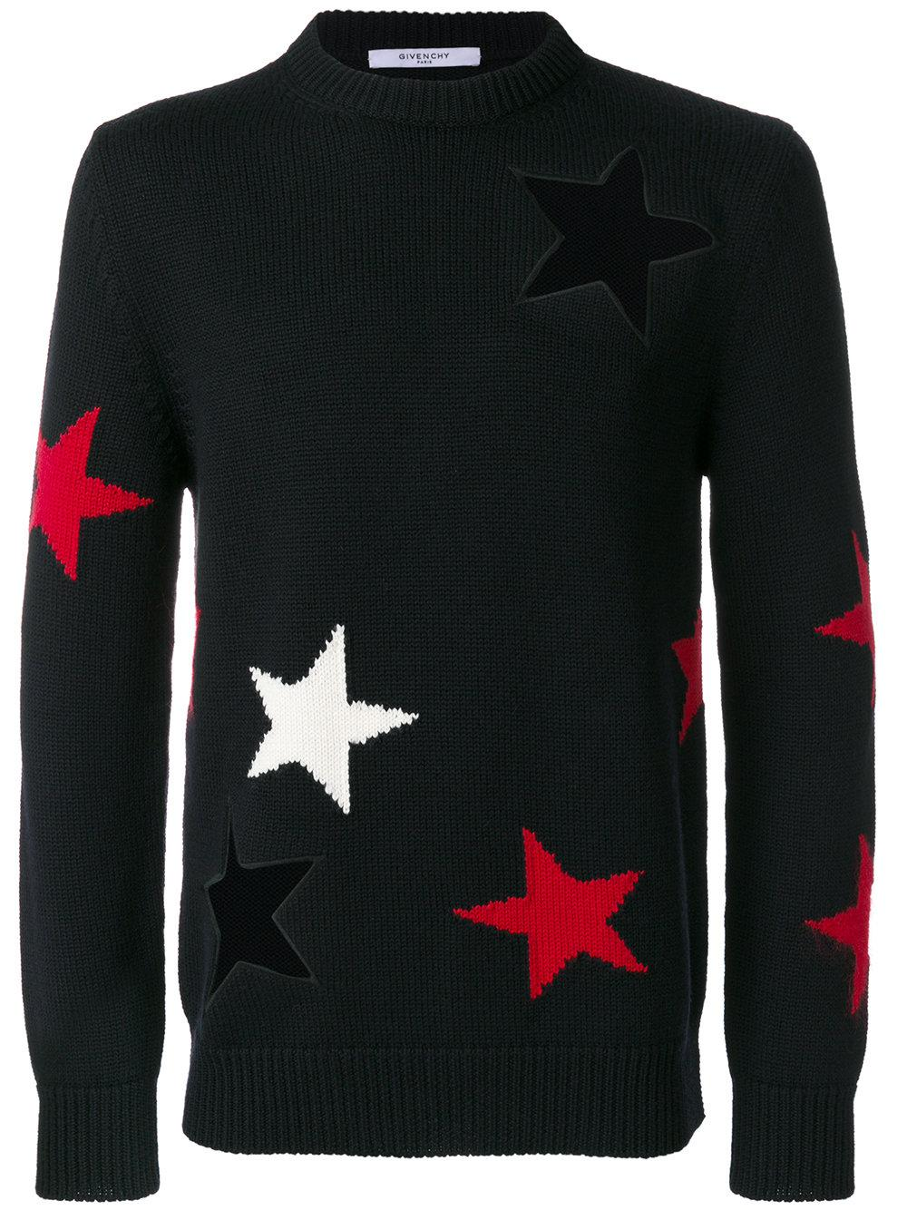 lyst givenchy star cutout sweater in black for men. Black Bedroom Furniture Sets. Home Design Ideas