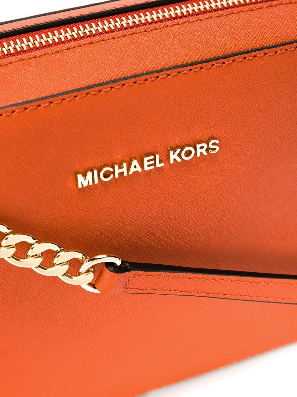 MICHAEL Michael Kors Leather Jet Set Crossbody Saffiano Large Pouch in Yellow & Orange (Orange)